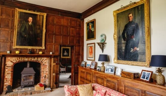 The sitting room at Boxted Hall, an amazing party house to rent