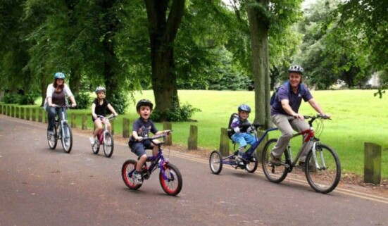 Family group on bicycles
