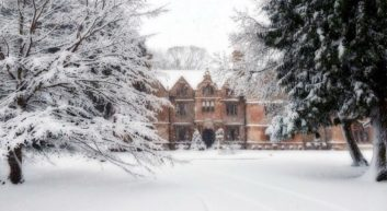 Snowy country house at Christmas