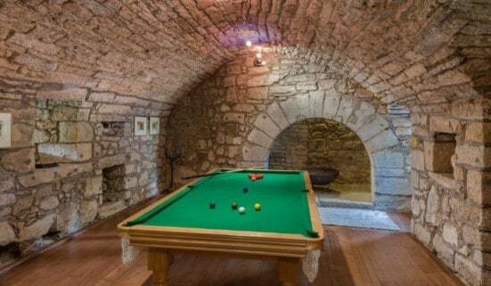 Pool table in converted cellar